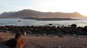 Martins Bay sand spit at sunset